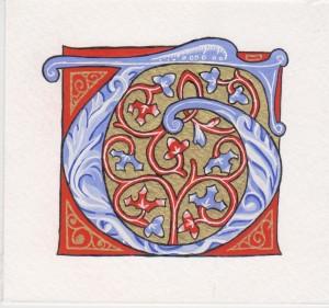 Lettrine peint sur papier